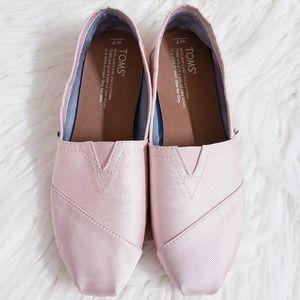 Toms pink satin grosgrain ribbon ballet flat sz 7
